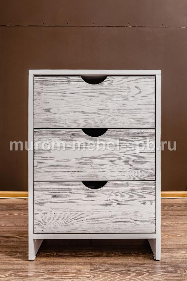 Фото Тумба Икеа 3 ящика (белая эмаль с чёрной патиной)