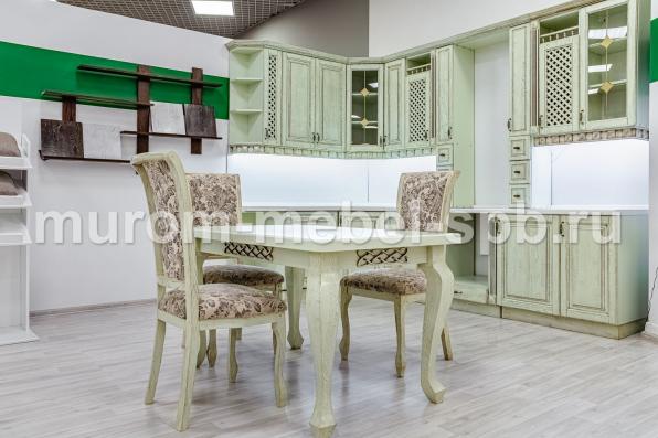 Фото Кухонный стол Лотос (фисташка с коричневой патиной)