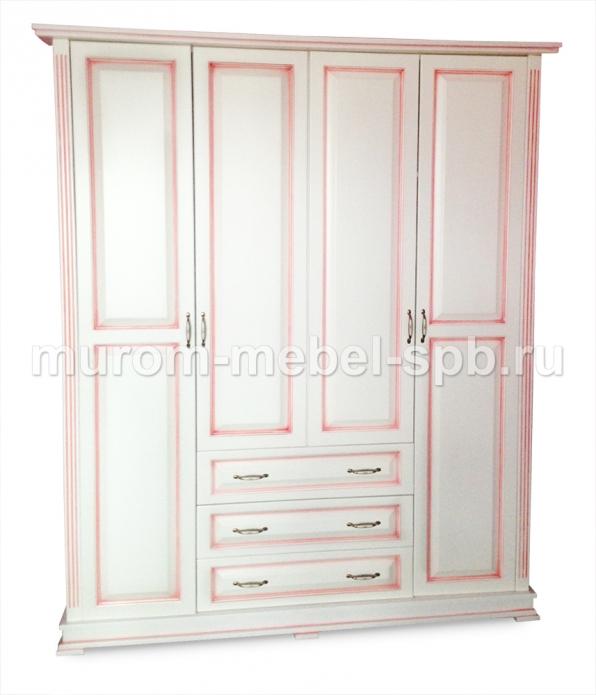 Фото Шкаф четырехстворчатый со встроеннным комодом (розовая патина) из серии