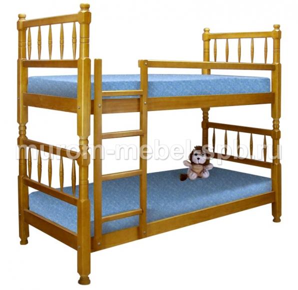 Фото Кровать двухъярусная Детская точеная