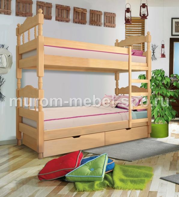 Фото Кровать двухъярусная точеная